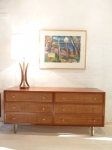 Mid Century American Mahogany Chest of 6 Drawers with Rattan Fronts 1625L x 460D x 740H