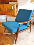 Danish armchair with peacock blue original wool upholstery in professionally cleaned & excellent condition