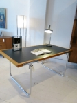 Simple & elegant desk in chrome & timber with vinyl top