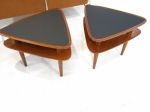 Pair of rare side tables in guitar pick shape