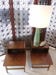 Pair of tiered side tables with leaf inlay to surface USA 1950