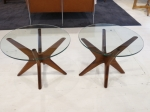 Star-shaped walnut side tables