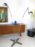 Double arm re-purposed industrial workshop floor lamp