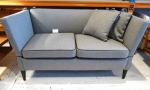 2 seater sofa Reupholstered in dove grey wool 