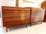 Pair of American Walnut chest of drawers with 3 x louver fronted drawers, Fully restored  915L x 470D x 770H