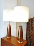 walnut Mid-Century Modern lamps