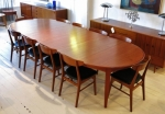 Fully restored Danish extension dining table in Teak.