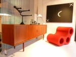 Danish Modern long sideboard with tambour doors
