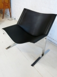 Clement Meadmore lounge chair in full crust leather and chrome.
