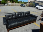 Danish Vintage black leather 3 seater sofa.