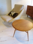 Scandinavian design chair in leather & wool