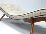 Grant Featherston Z300 chaise. upholstered in scratchy by cloth